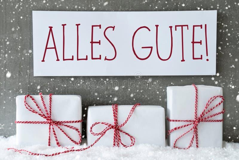 Weißes Geschenk mit Schneeflocken, Alles Gute bedeutet beste Wünsche stockbilder