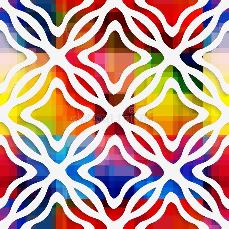 Weißes gewelltes Rechtecknetz und Rechteckkante auf Regenbogen nahtloses p vektor abbildung