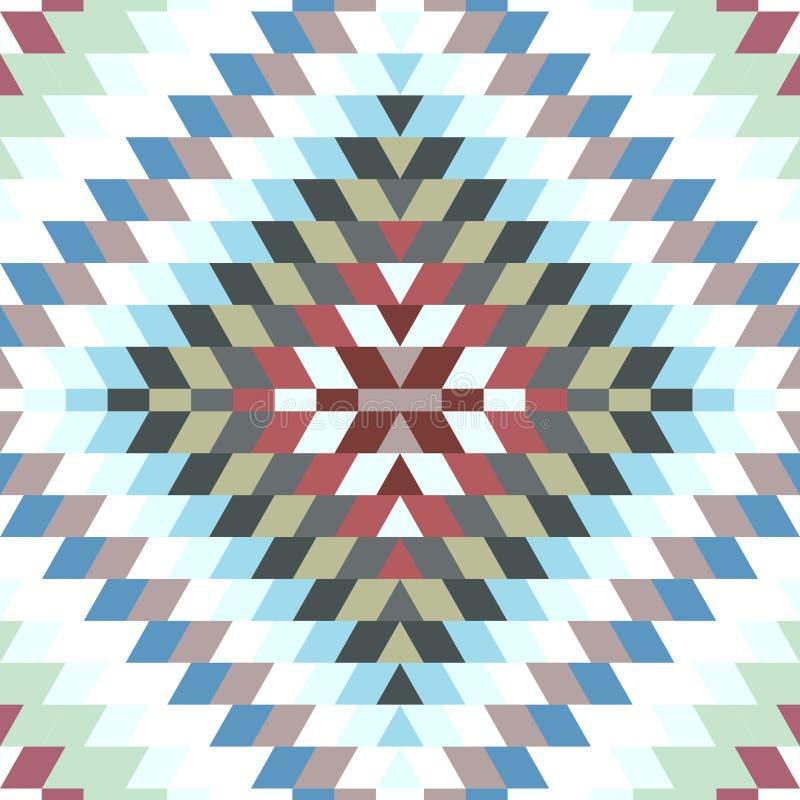 Weißes graues purpurrotes Braun des nahtlosen türkischen Teppich-Blaus des Musters Bunte Patchworkmosaikorientale-kilim Wolldecke stock abbildung