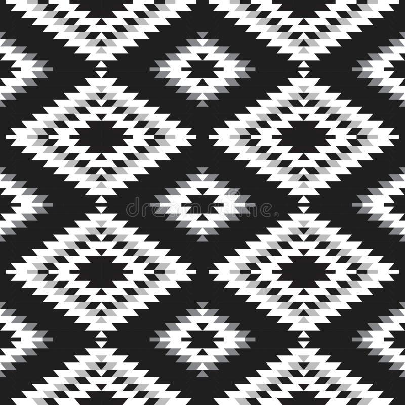 Weißes graues Schwarzes des nahtlosen Teppichs des Musters türkischen Patchworkmosaikorientale-kilim Wolldecke mit traditioneller stock abbildung