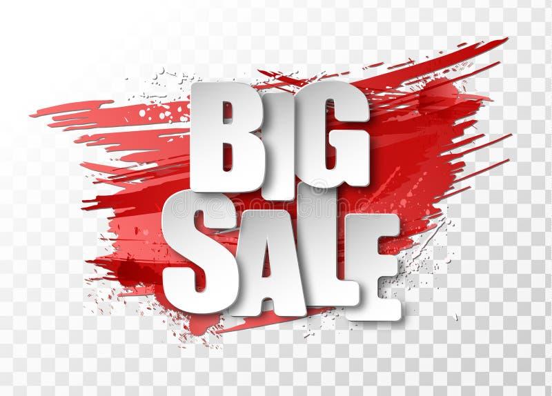 Weißes großes Papierzeichen des Verkaufs 3d auf dem roten Hintergrund, der mit Schmutz gemacht wird, schmiert und spritzt lizenzfreie abbildung