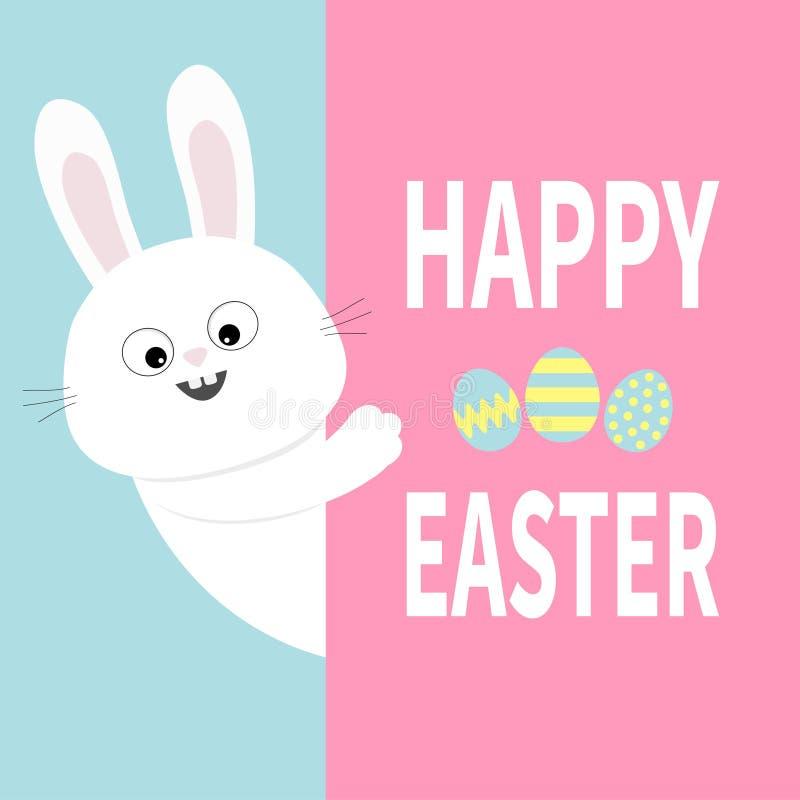Weißes Häschen, das großes Schild hält Lustiges Tier der netten Karikatur, das hinter Papier sich versteckt Fröhliche Ostern Abst stock abbildung
