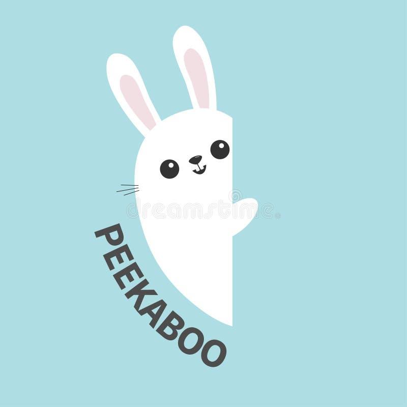 Weißes Häschen, das Wandschild hält Lustiges Tier der netten Karikatur, das hinter Papier sich versteckt Glückliches Ostern-Symbo lizenzfreie abbildung