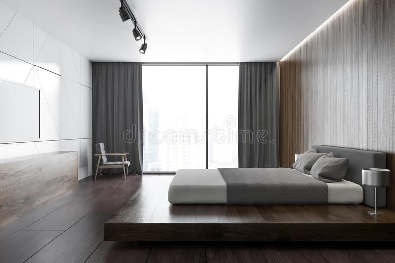 Weißes hölzernes Dachbodenschlafzimmer mit einem Fernseher, Seitenansicht vektor abbildung