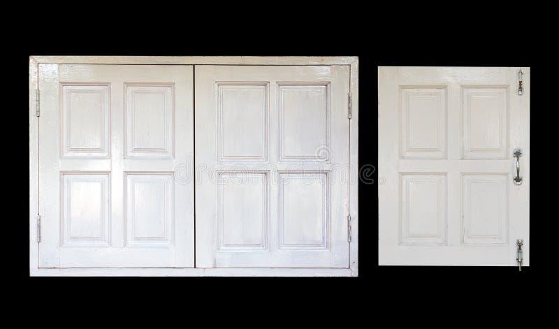 Weißes hölzernes Fensterisolat auf schwarzem Hintergrund stockfotografie