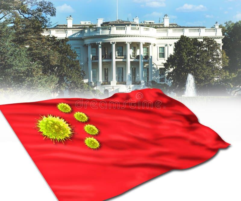 Weißes Haus und Chinesisches Virus stockfoto