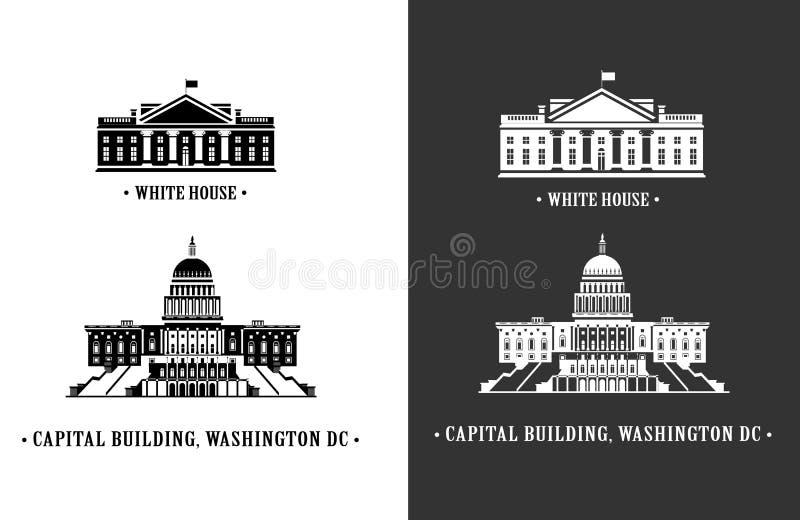 Weißes Haus und Kapitolgebäude in Washington vektor abbildung