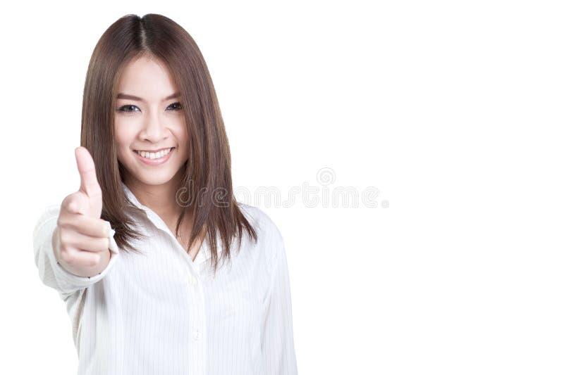 Weißes Hemd des attraktiven direkten Witzbolds der Geschäftsfrau lokalisiert lizenzfreie stockfotografie