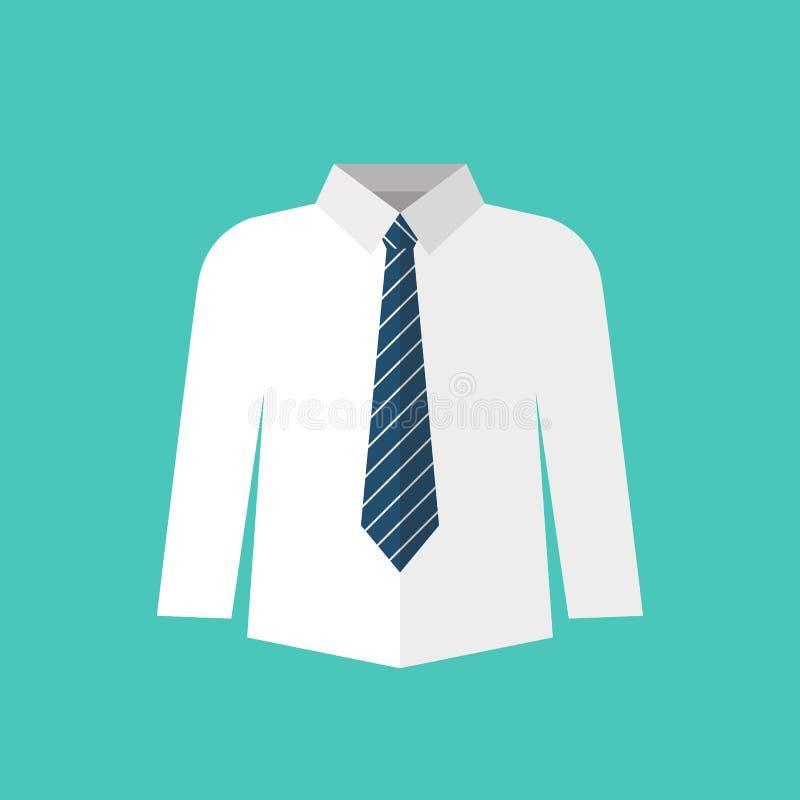 weißes Hemd mit Krawatte lizenzfreie abbildung