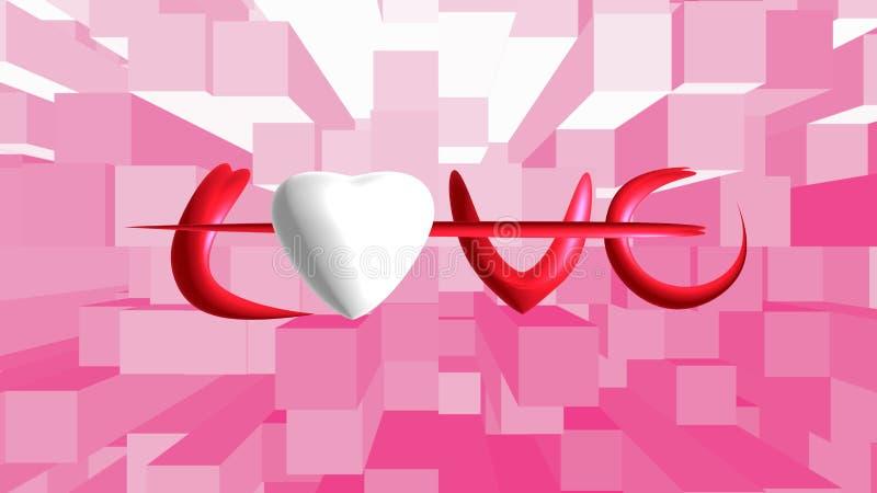 Weißes Herz auf Hintergrund stockbild
