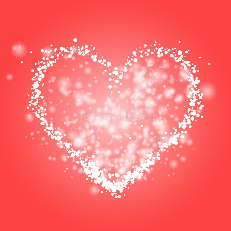 Weißes Herz des FunkelnLichteffektes stock abbildung