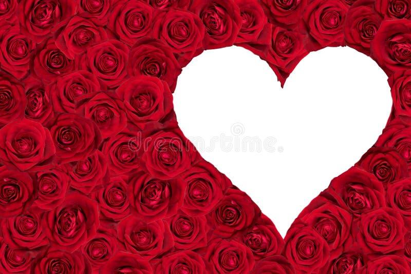 Weißes Herz umgeben durch Rosen vektor abbildung
