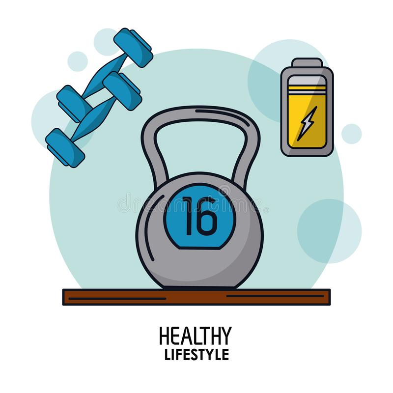 Weißes Hintergrundplakat des gesunden Lebensstils mit kettlebell Gewicht und Dummköpfen und der Batterieikone auf die Oberseite lizenzfreie abbildung