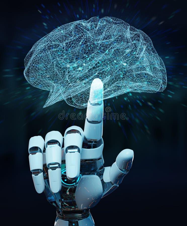 Weißes Humanoid hanid, das künstliche Intelligenz 3D renderi schafft vektor abbildung