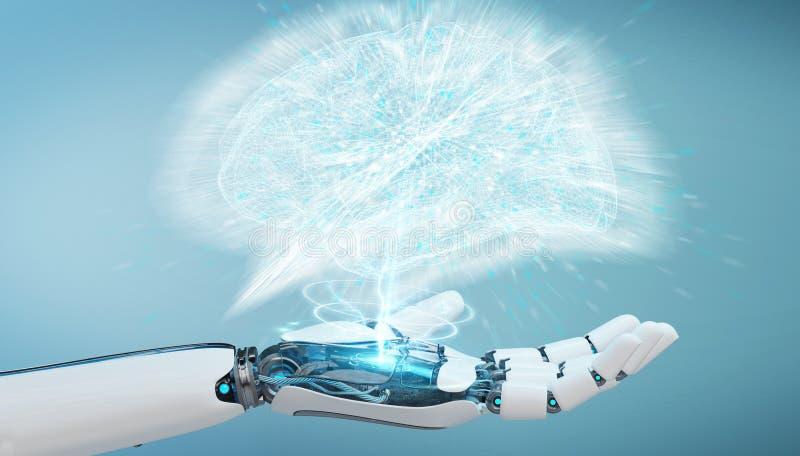 Weißes Humanoid hanid, das künstliche Intelligenz 3D renderi schafft lizenzfreie abbildung