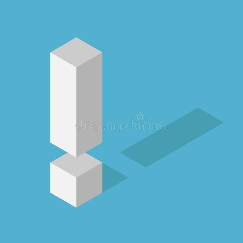 Weißes isometrisches Ausrufezeichen stock abbildung