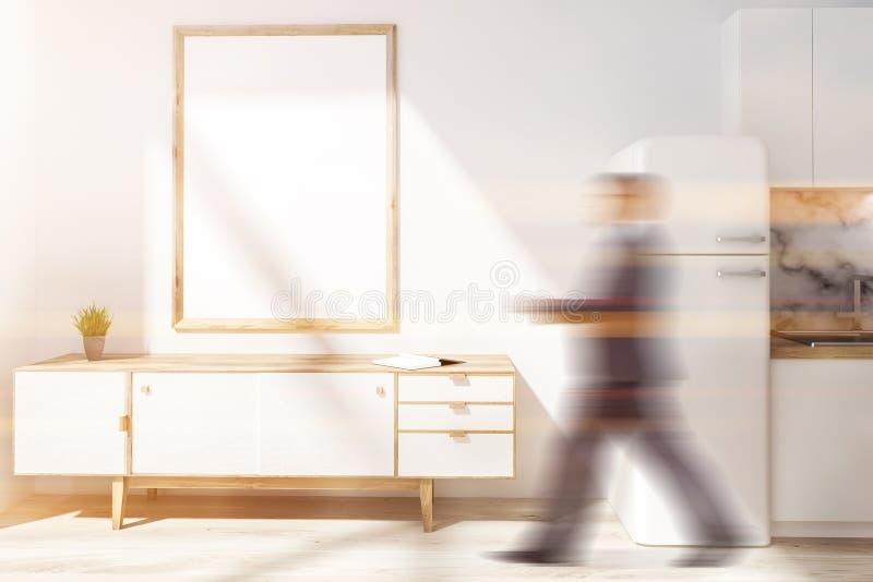 Weißes Küche inteiror, vertikales Plakat und Mann lizenzfreie stockfotografie