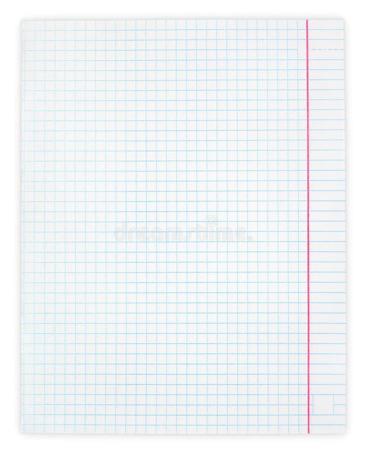 Weißes Karopapierblatt stockbild