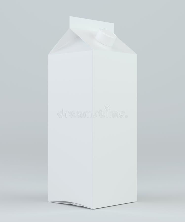 Weißes Kartonpaket der Milch und des Safts Wiedergabe 3d lizenzfreie abbildung