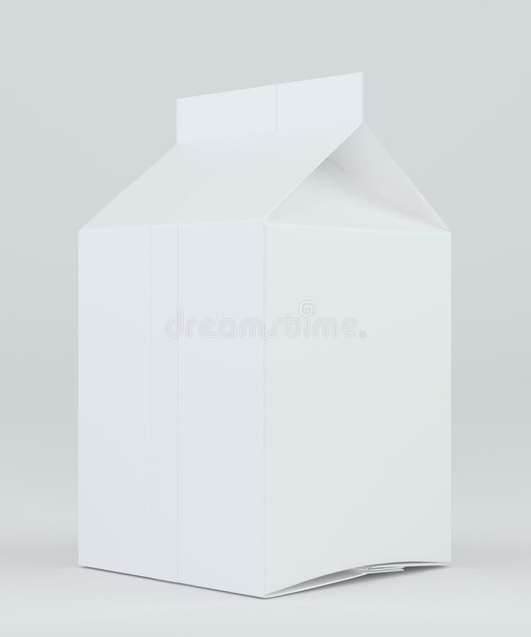 Weißes Kartonpaket der Milch und des Safts Wiedergabe 3d vektor abbildung