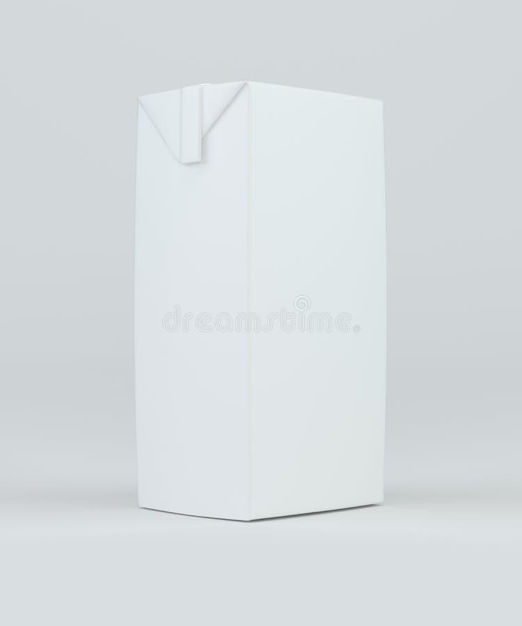Weißes Kartonpaket der Milch und des Safts Wiedergabe 3d stock abbildung