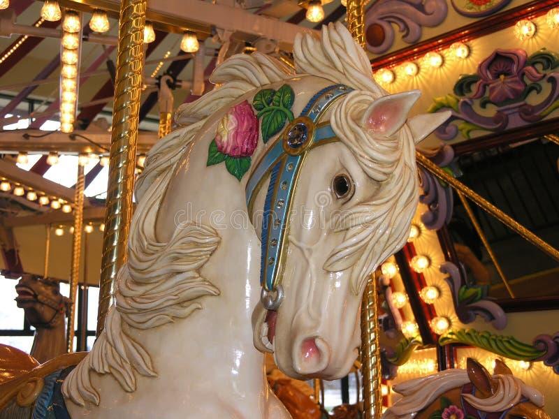 Weißes Karussell-Pferd stockfoto