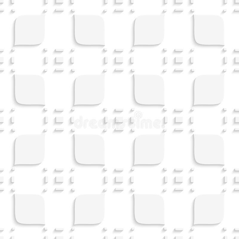 Weißes kleines Rechteckherumtasten und -blätter nahtlos vektor abbildung