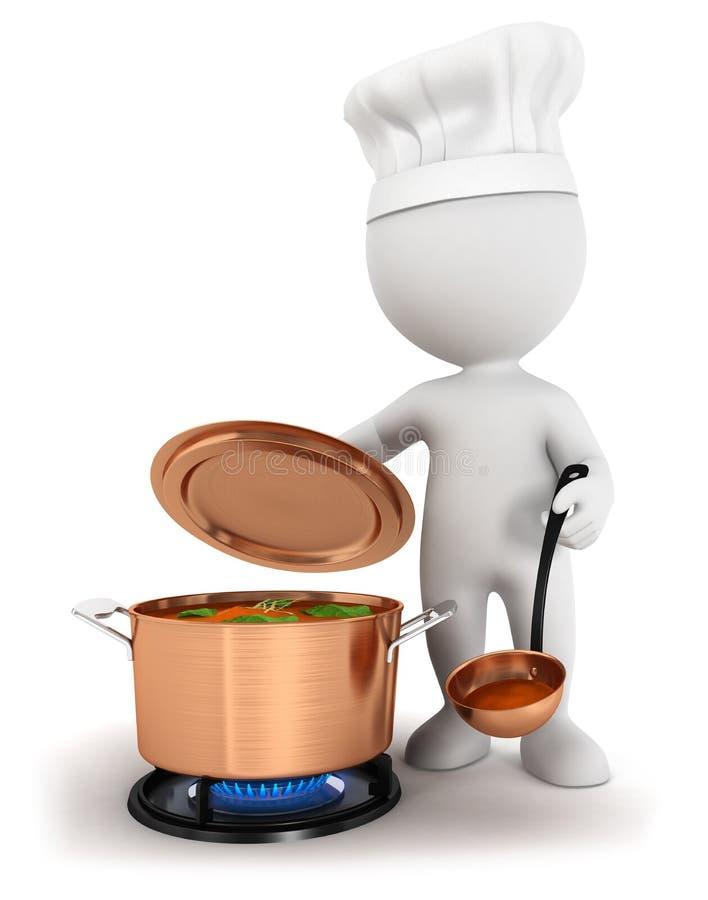 weißes Kochen der Leute 3d vektor abbildung
