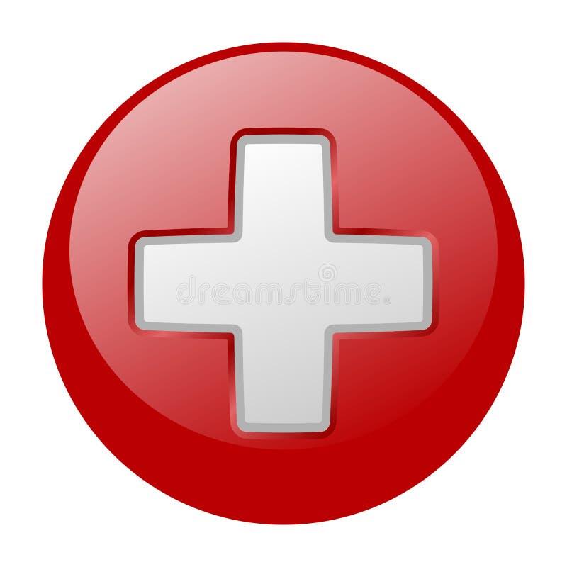 Weißes Kreuz auf Kugel stock abbildung