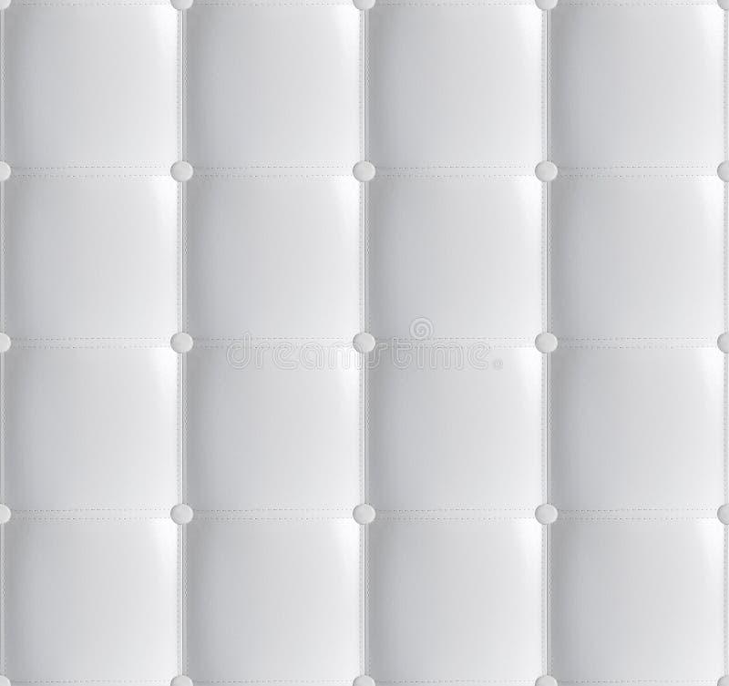 Weißes ledernes gestepptes Kopfende-nahtloses Muster, weicher lederner Luxushintergrund Weiße Kopfende, Bett Hintergrundbeschaffe stockbilder
