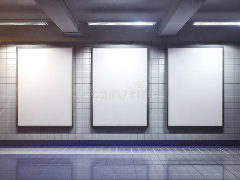 Weißes leeres Anschlagtafelplakat Innen stockfotos