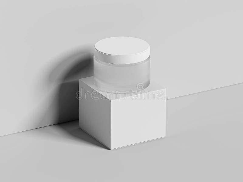 Weißes leeres Glas für die Creme und Kasten lokalisiert auf hellem Hintergrund Wiedergabe 3d lizenzfreies stockbild