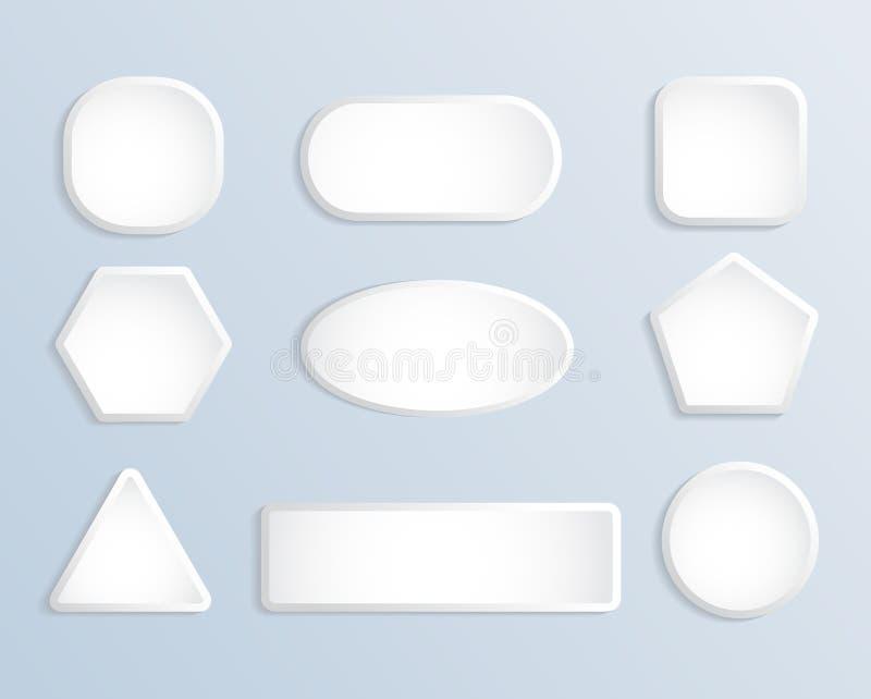 Weißes leeres Quadrat und runder Knopfvorratvektorsatz vektor abbildung