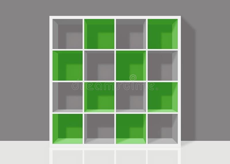 wei es leeres quadratisches b cherregal mit gr nen elementen auf grauem wandba stock abbildung. Black Bedroom Furniture Sets. Home Design Ideas