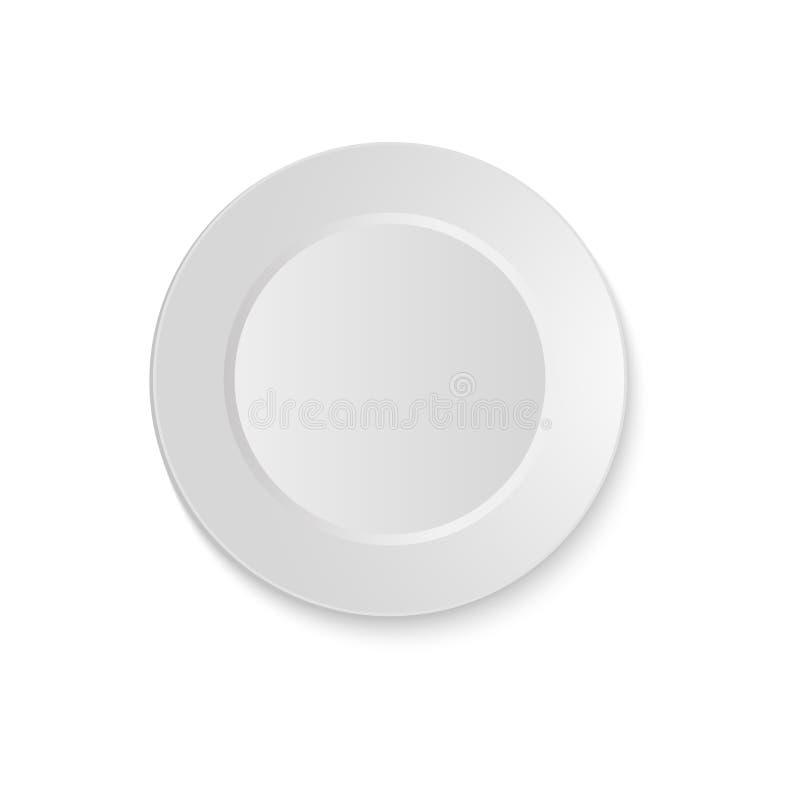 Weißes leeres rundes sauser Draufsicht lokalisiert auf weißem Hintergrund Vektor vektor abbildung