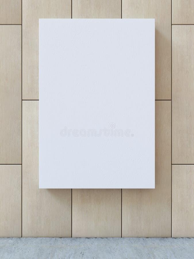 Weißes leeres Segeltuch auf hölzerner Musterwand mit konkretem Bodenhintergrund Wiedergabe 3d stock abbildung