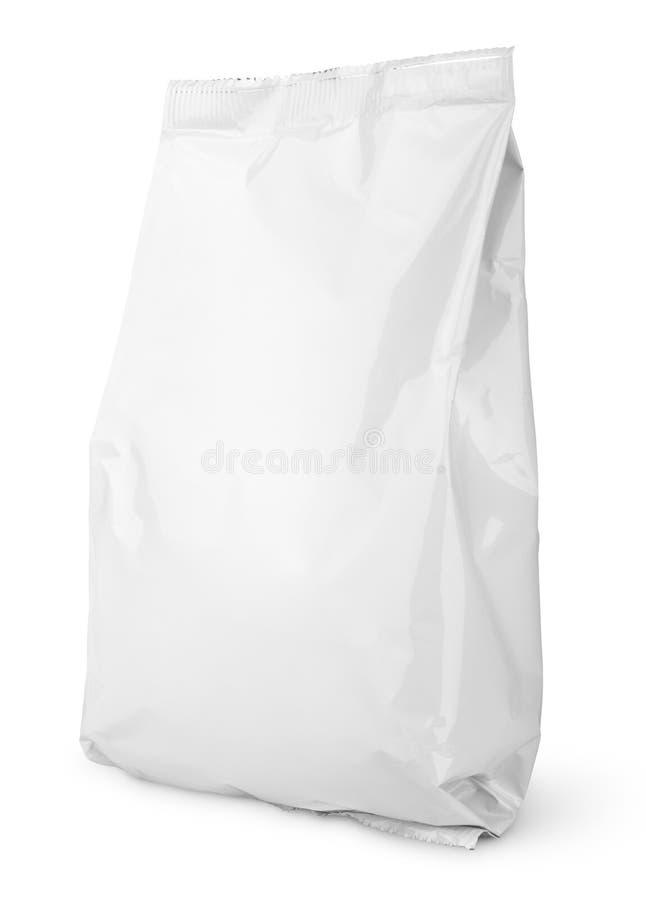 Weißes leeres Snacktaschenpaket stockfotos