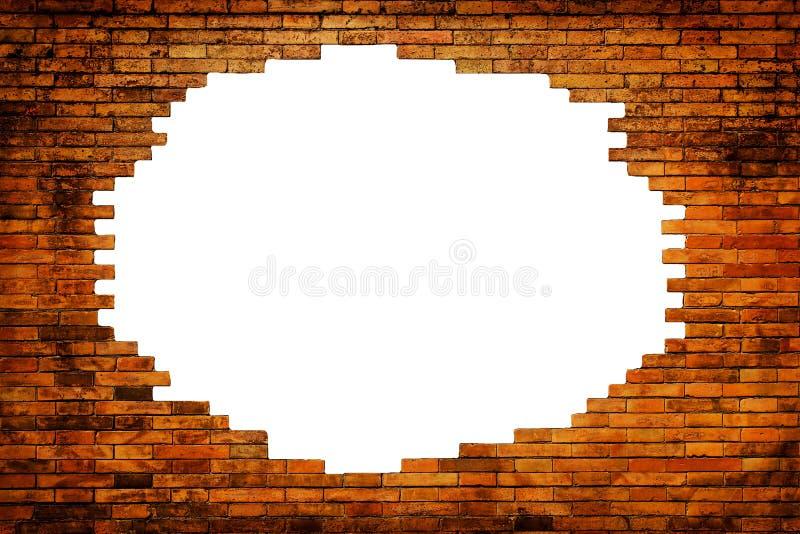 Weißes Loch in der alten Wand stockfotografie