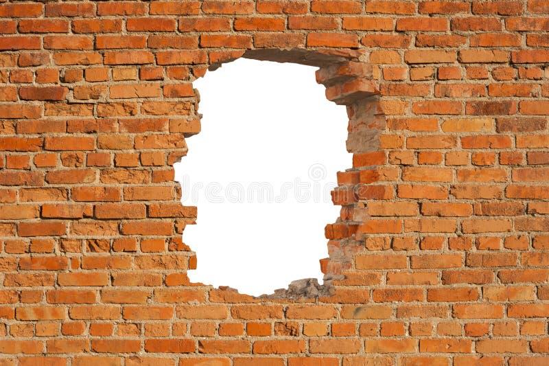 Weißes Loch in der alten Wand stockbilder