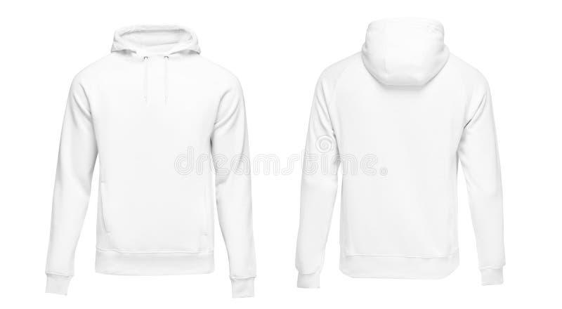Weißes männliches Hoodiesweatshirt langärmlig mit Beschneidungspfad, Kapuzenpulli-Entwurfsmodell der Männer für Druck, lokalisier stockfotografie