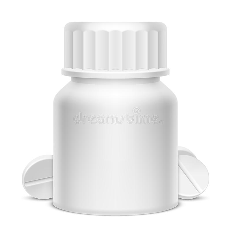 Weißes Medizin-Tablettenfläschchen vektor abbildung