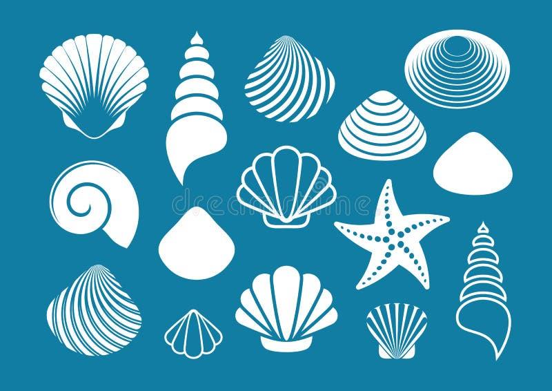 Weißes Meeroberteile und Starfish lizenzfreie abbildung