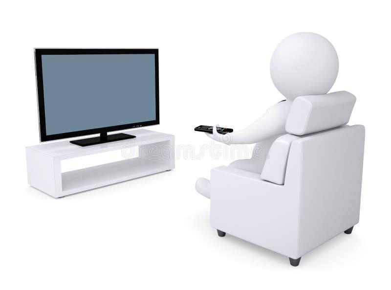 weißes menschliches Sitzen 3d in einem Stuhl und in einem überwachenden Fernsehapparat vektor abbildung