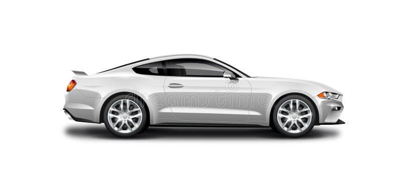 Weißes metallisches Coupé-sportliches Auto auf weißem Hintergrund Seitenansicht mit lokalisiertem Weg vektor abbildung