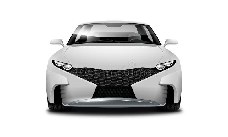 Weißes metallisches Coupé-sportliches Auto auf weißem Hintergrund Vorderansicht mit lokalisiertem Weg vektor abbildung
