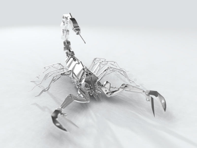 Weißes Metallroboterskorpion stock abbildung