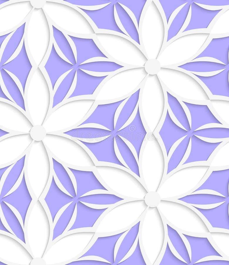 Weißes mit Blumenausführliches mit purpurrotem nahtlosem stock abbildung