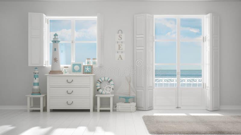 Weißes Mittelmeerleben, Fenster mit Seepanorama, Sommer ho lizenzfreie abbildung