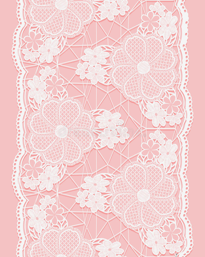 Weißes nahtloses Spitzeband auf rosa Hintergrund Vertikale Grenze von Florenelementen lizenzfreie abbildung