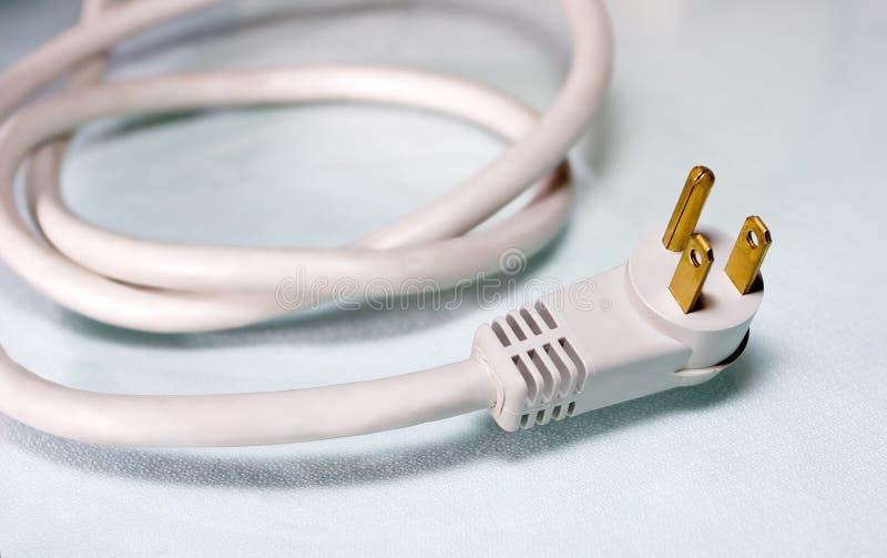 Weißes Netzanschlusskabel für Computer lizenzfreies stockfoto